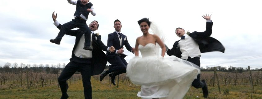 Wedding party jump Denbies Vineyeard wedding video