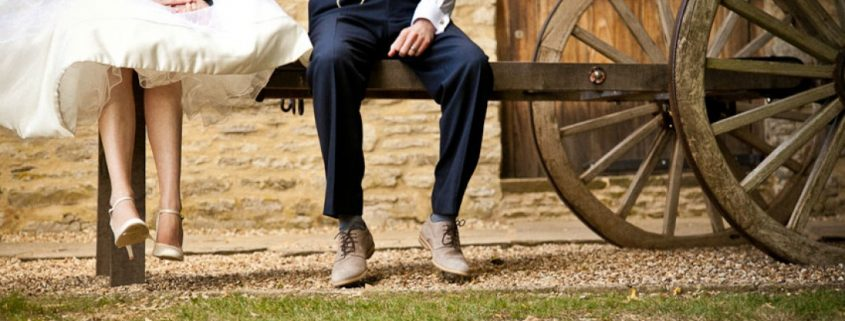 Couple cart Tythe Barn Launton wedding film