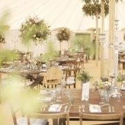 Inside wedding marquee at Soho Farmhouse