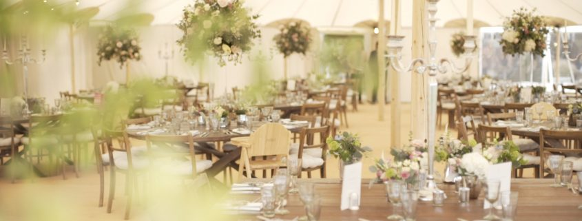 Inside wedding marquee at Soho Farmhouse